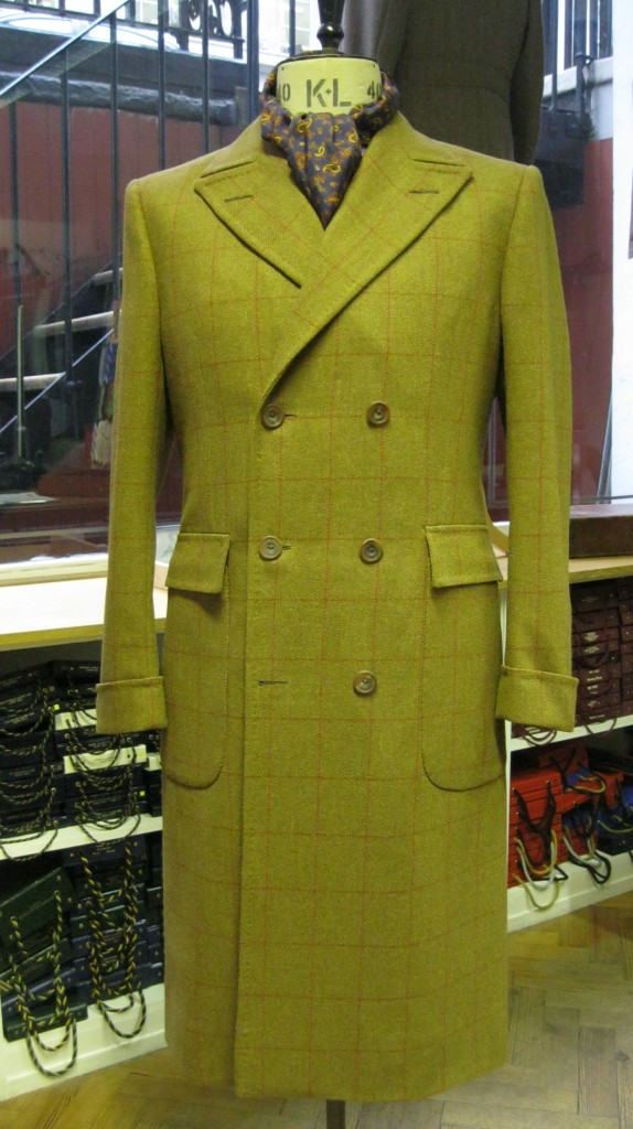 Tweed Polo coat. Double breasted with patch pockets.