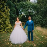 Blue double breasted wedding suit.